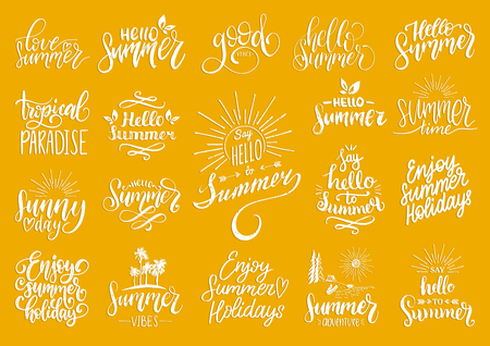 Hand lettering with summer motivational phrases and sketches. Vector set of calligraphy inspirational quotes collection. Stock Photo
