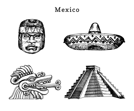 Drawn set of famous Mexican attractions. Vector illustrations of Olmec and Aztec sights. Latin American tourist symbols. Illustration
