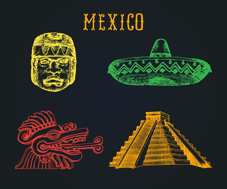 Drawn set of famous Mexican attractions. Vector illustrations of Olmec and Aztec sights. Latin American tourist symbols. Ilustração