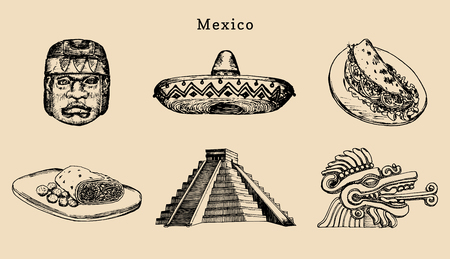 Drawn set of famous Mexican attractions.Vector illustration of Olmec and Aztec sights.Latin American street food symbols