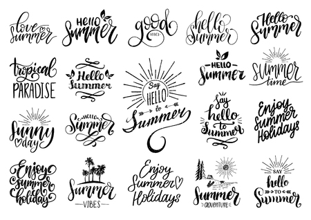 Vector set of hand lettering with motivational summer phrases. Calligraphy inspirational holiday quotes collection