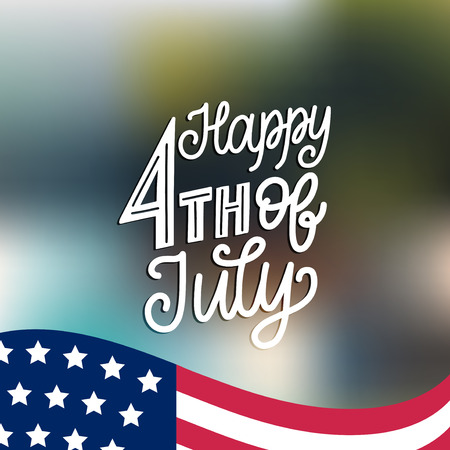 Happy Fourth of July, hand lettering.Vector inscription for greeting card, banner etc. Calligraphy for Independence Day.