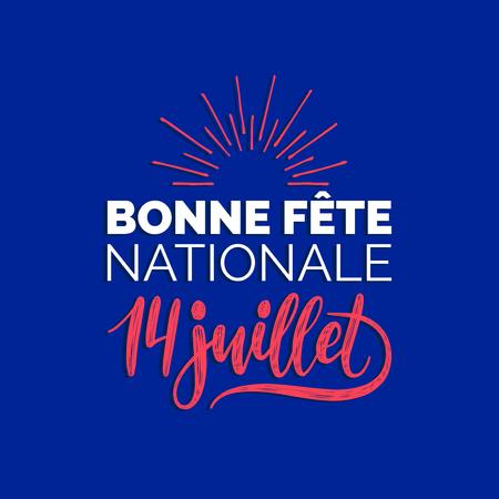 Fete Nationale Francaise, Handschrift. Phrase übersetzt zum englischen französischen Nationalfeiertag. 14. Juli Vektorkonzept.
