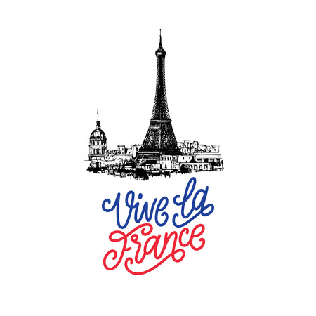 Bastille Day design.Drawn illustration of Eiffel Tower.French National Day background.14th July concept for card,poster.