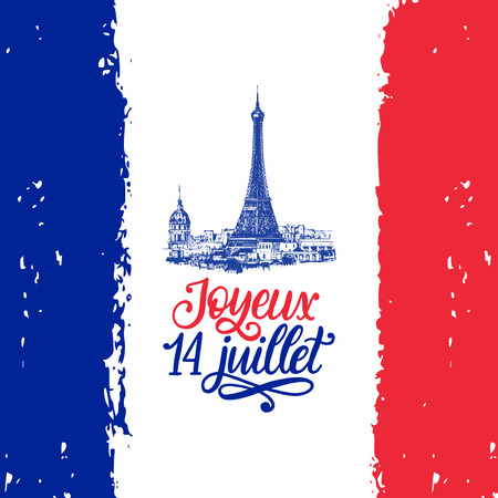 Joyeux 14 Juillet, hand lettering. Phrase translated from French Happy 14th July. Bastille Day illustration. Stock Illustratie