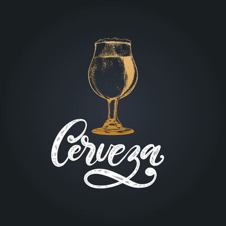 Cerveza, vector hand lettering.Translation from Spanish of word Beer.Drawn illustration of traditional glass beer goblet