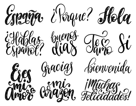 Bienvenida, Hola, Feliz Cumpleanos, Gracias, Espana translated from Spanish handwritten phrases Welcome, Hello, Happy Birthday, Thank You, Spain etc. Vector calligraphy set on white background. Ilustração