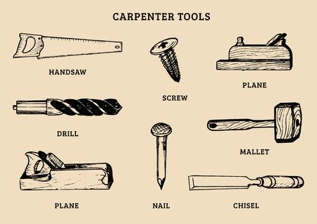 Vector de dibujo de herramientas de carpintería. Ilustración de elementos de equipo de trabajos de madera. Ilustración de vector