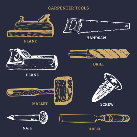 Vector drawing of carpentry tools.Illustration of wood works equipment elements. Vectores