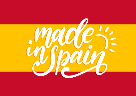 Made In Spain, vector hand lettering.Calligraphic inscription on Spanish flag background. Stockfoto