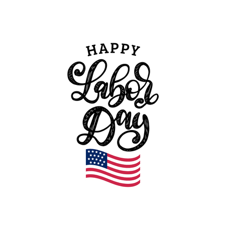 Vector Happy Labor Day card. National american holiday illustration with USA flag. Festive poster or banner with hand lettering. Illusztráció