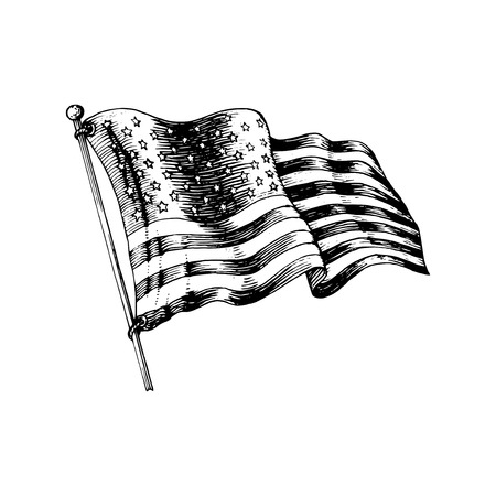 National American flag, vector illustration drawn in engraved style. Used for greeting or invitation card, festive poster or banner.