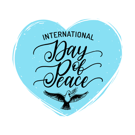 International Day Of Peace, vector hand lettering. Drawn illustration of dove with a palm branch in shape heart.