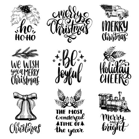 Set of hand written Christmas phrases.