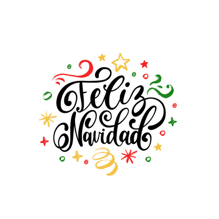 Feliz Navidad translated from spanish Merry Christmas hand lettering on festive background. Happy Holidays typography for greeting card template or poster concept.