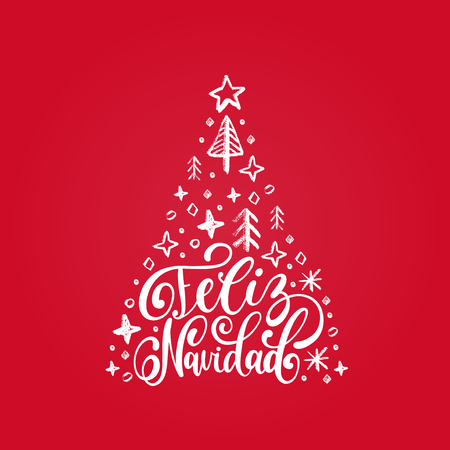 Feliz Navidad translated from spanish Merry Christmas hand lettering with spruce illustration on red background. Happy Holidays typography for greeting card template or poster concept.