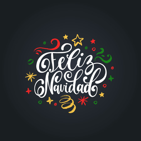 Feliz Navidad translated from spanish Merry Christmas hand lettering on festive background.. Happy Holidays typography for greeting card template or poster concept.