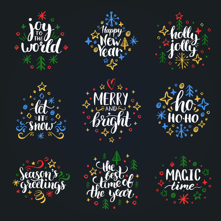Set of New Year hand lettering on black background. Vector Christmas chalk drawing illustrations. Happy Holidays greeting card, poster template.