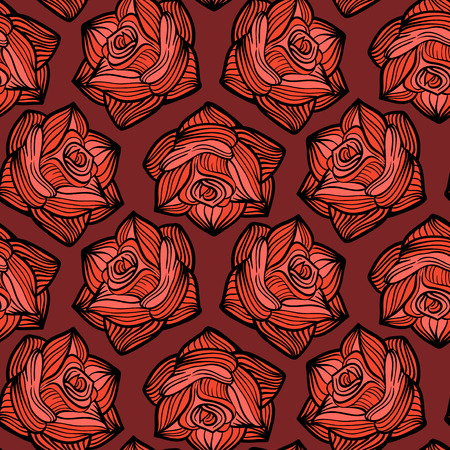 Halloween vector seamless pattern with roses.Flower background for All Saints Eve.
