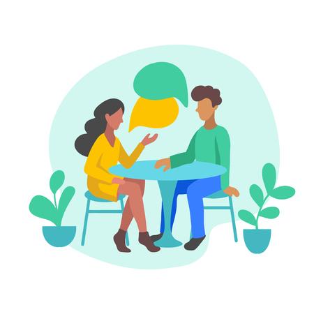 Illustration vectorielle d'un couple romantique discutant des nouvelles, des réseaux sociaux, des potins. Les gens assis à une table avec des bulles dans un style plat.