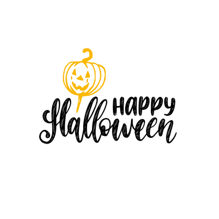 Happy Halloween, hand lettering. Vector illustration of pumpkin on white background. Design concept for party invitation, greeting card, poster. Çizim