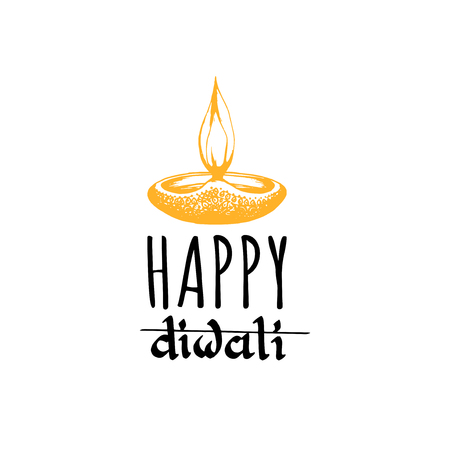 Happy Diwali hand lettering on white background. Vector lamp illustration for Indian holiday greeting card, fest poster.