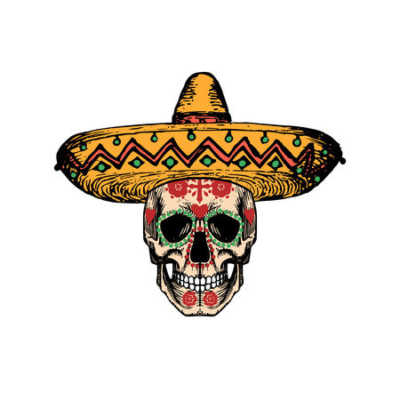 Vector illustration of skull in sombrero for Dia De Los Muertos. Day of the Dead background. Design concept for party invitation, greeting card.
