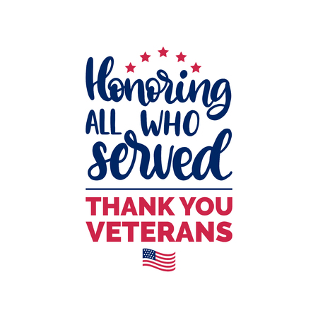 Honoring All Who Served, hand lettering with USA flag illustration. Çizim