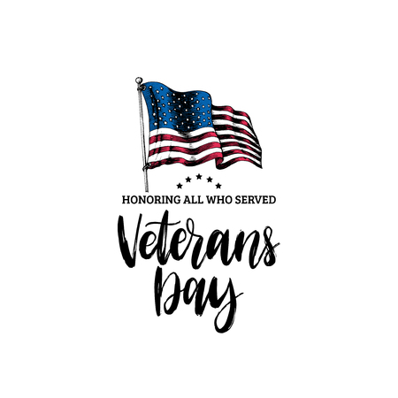 Veterans Day, hand lettering with USA flag illustration in engraving style.