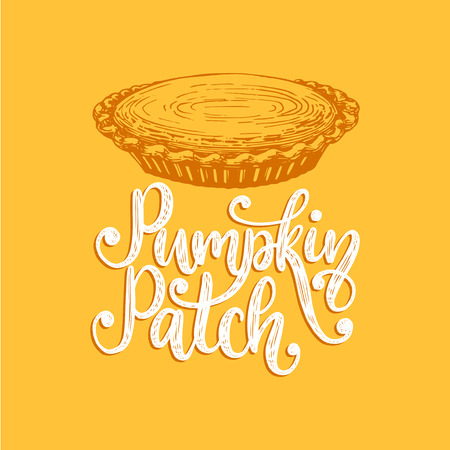 Pumpkin patch, hand lettering on yellow Stok Fotoğraf - 111940431
