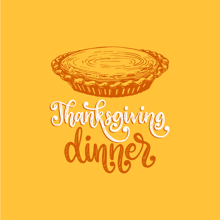Thanksgiving Dinner, hand lettering on yellow Stok Fotoğraf - 111940430