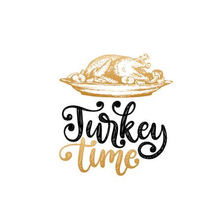 Turkey time, hand lettering on white Stok Fotoğraf