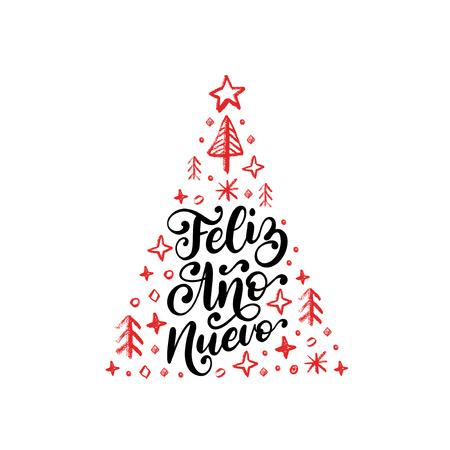 Feliz Ano Nuevo, handwritten phrase, translated from Spanish Happy New Year. Reklamní fotografie