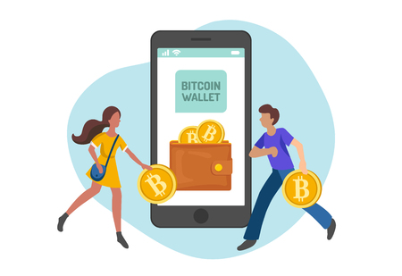 People carrying bitcoins in wallet, flat minimalist styling. Vector illustration of capital flow, earning money.