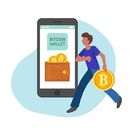 Man managing gold bitcoins in smartphone app, flat minimalist styling. Vector illustration of capital flow, earning money, financial savings.