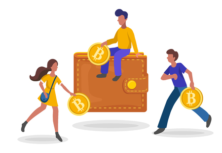 People investing gold coins with the symbol B in bitcoin wallet, flat minimalist styling. Vector illustration of capital flow, earning money, financial savings. Ilustracja