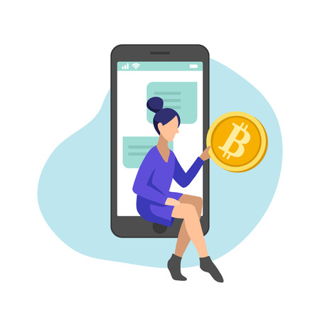 Woman managing gold bitcoins in smartphone app, flat minimalist styling. Vector illustration of capital flow, earning money, financial savings.