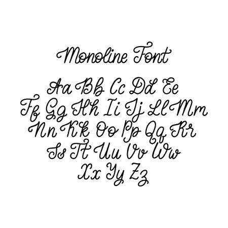 Calligraphy monoline font on white background. Vector handwritten English alphabet