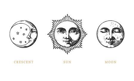 Set di sole, luna e mezzaluna, disegnato a mano in stile incisione. Illustrazioni retrò grafiche vettoriali.
