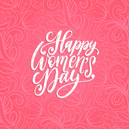 Happy International Womens day handwritten lettering in vector for greeting card, invitation, banner etc. Vintage calligraphy 8 March.