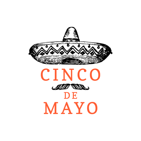 Cinco De Mayo, hand lettering. Translation from Spanish 5 May. Vector calligraphy with illustration of sombrero. Used for greeting card, poster design.
