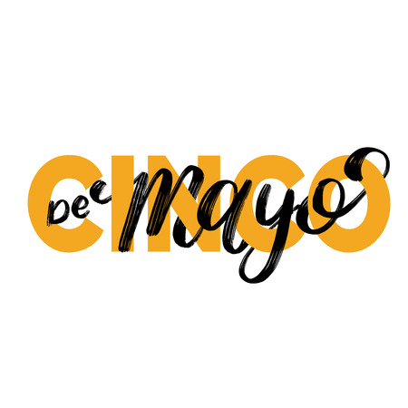 Cinco De Mayo, hand lettering. Translation from Spanish 5 May. Vector calligraphy illustration. Used for greeting card, poster design. Ilustração