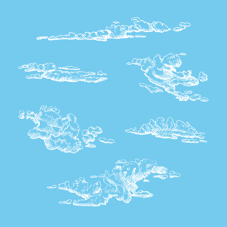 Clouds set, hand drawn in engraving style. Vector graphic illustration of cloudy sky