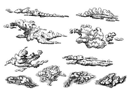 Ensemble de nuages, dessinés à la main dans un style de gravure. Illustration graphique vectorielle du ciel nuageux