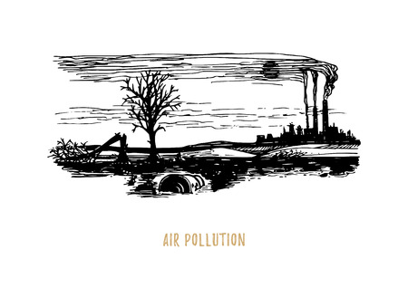 Air pollution illustration. Drawn sketch of contamination environment theme in vector. Drawing of polluted industrial landscape.