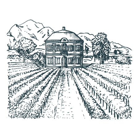 Hand sketch of villa, homestead in fields and hills.