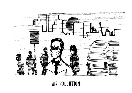 Air pollution, hand drawn illustration. Sketch of smoggy city, contamination environment theme in vector