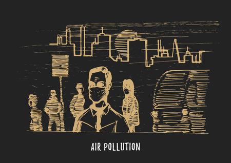 Air pollution, hand drawn
