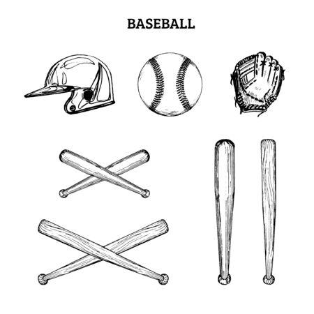 Vector illustration of baseball equipment. Banco de Imagens - 131910492