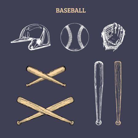 Vector illustration of baseball equipment. Set of drawn sporting goods on a dark Banco de Imagens - 131910490